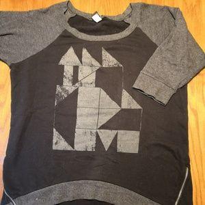 Torrid 3/4 Sleeve Sweatshirt Zip Hem Raglan